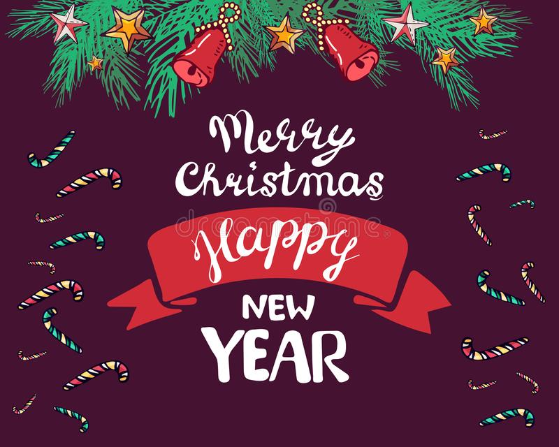 De kaart van de nieuwjaar 2019 groet verfraait tak, klokken, sterren, tak Vector illustratie het van letters voorzien Vrolijke ge vector illustratie