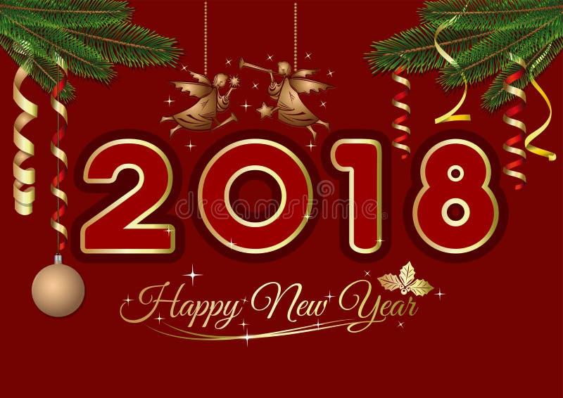 De kaart van de nieuwjaargroet 2018 royalty-vrije illustratie