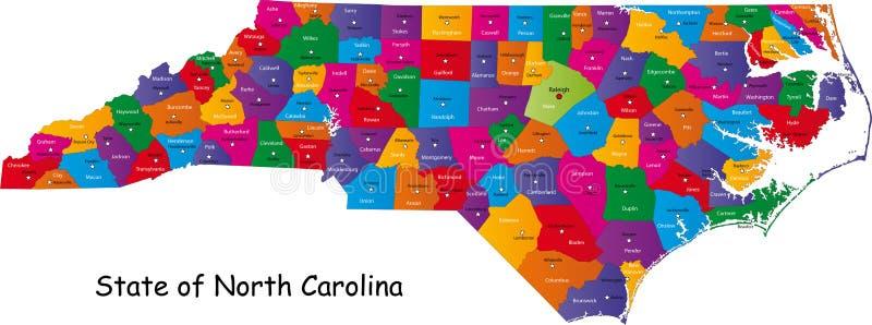 De kaart van Noord-Carolina stock illustratie