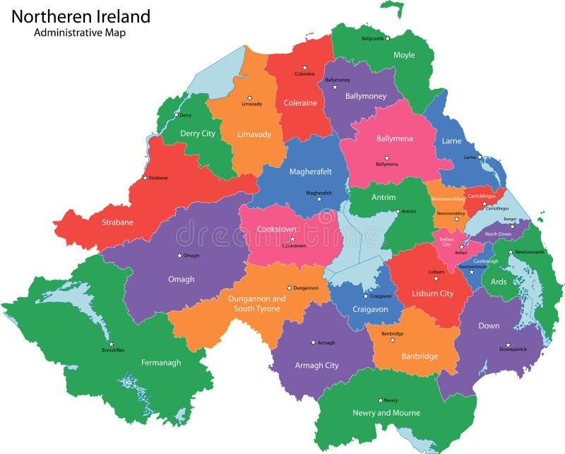 De kaart van Noord-Ierland vector illustratie