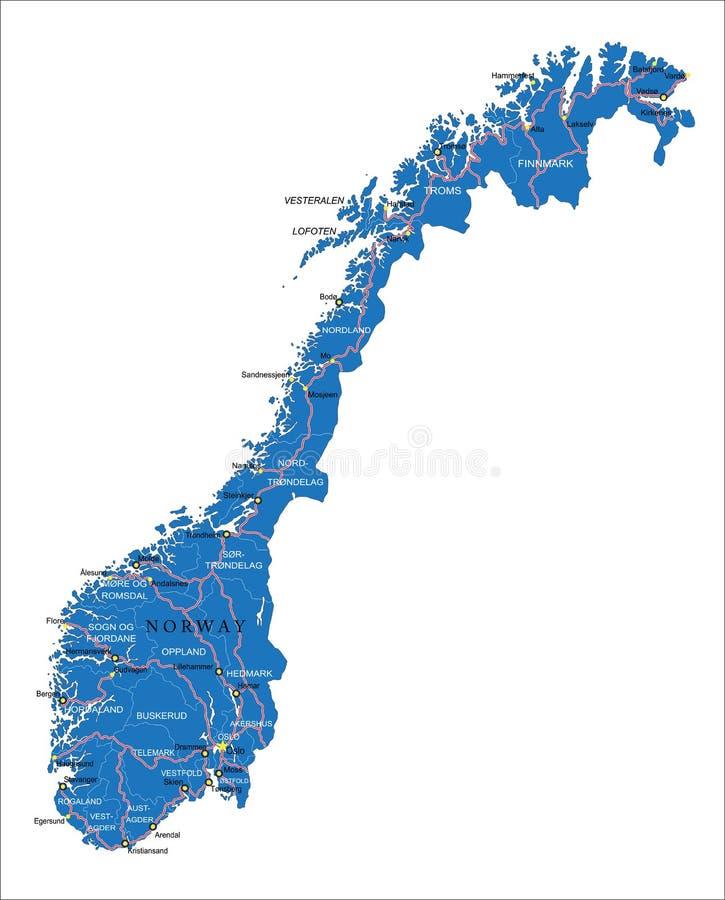 De kaart van Noorwegen stock illustratie