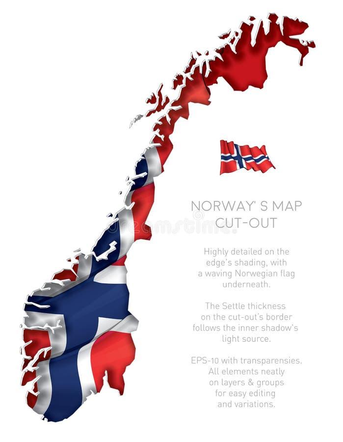 De Kaart van Noorwegen die met Golvende Vlag wordt verwijderd stock illustratie