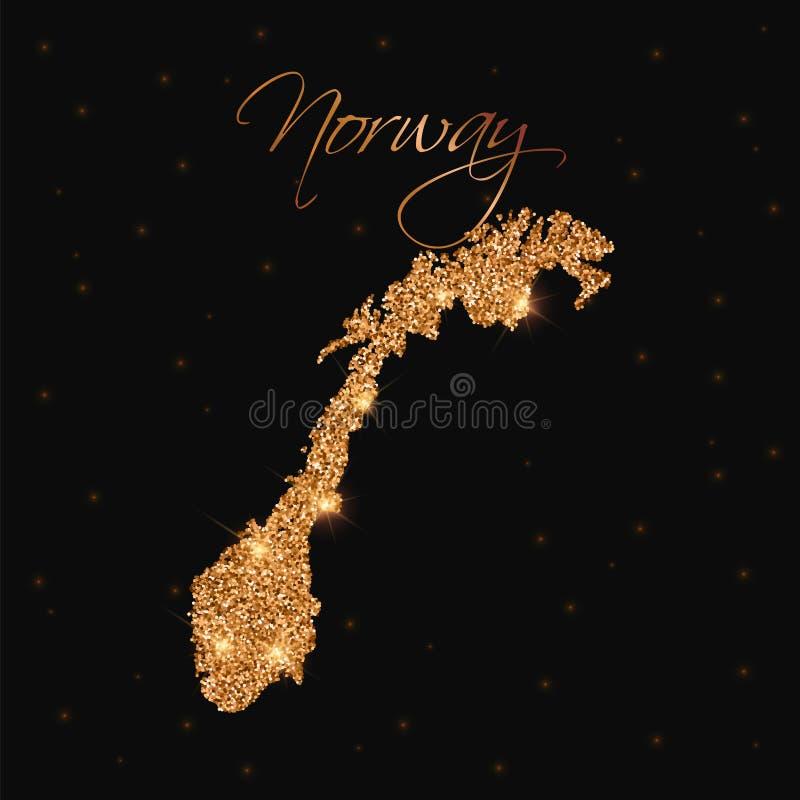 De kaart van Noorwegen die met gouden wordt gevuld schittert stock illustratie