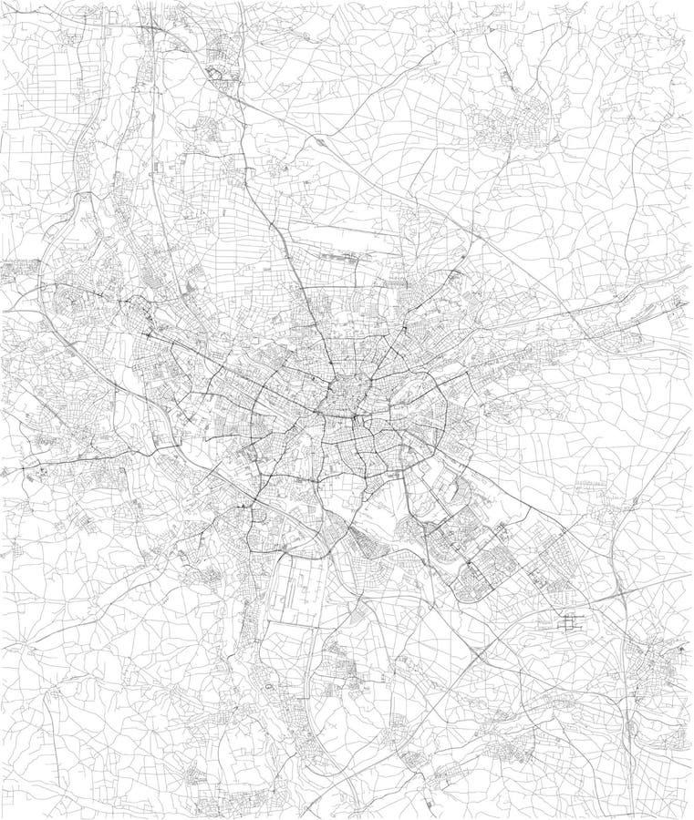 De kaart van Nuremberg, satellietmening, zwart-witte kaart duitsland stock illustratie