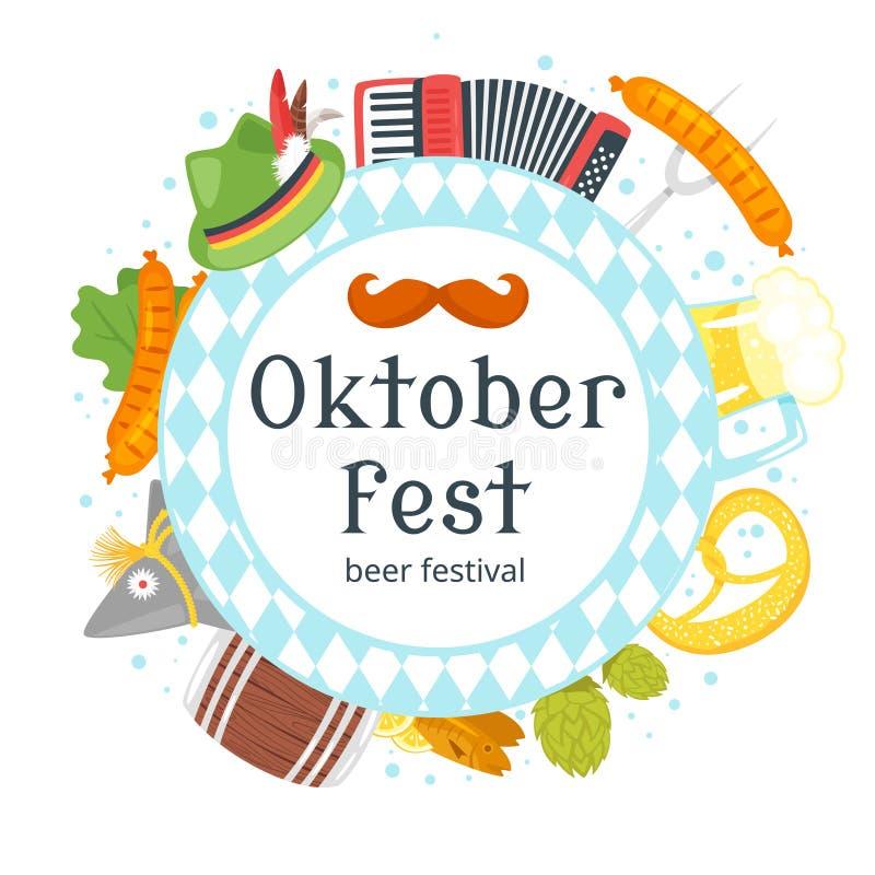 De kaart van de Octoberfestgroet vector illustratie