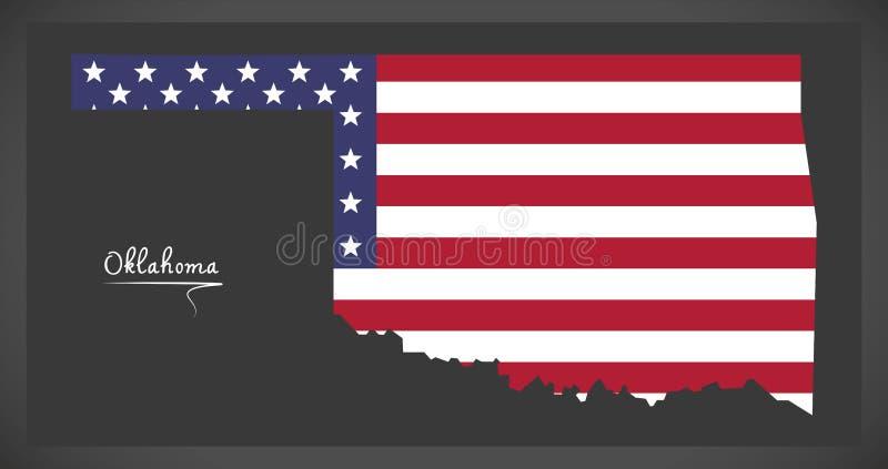 De kaart van Oklahoma met Amerikaanse nationale vlagillustratie vector illustratie