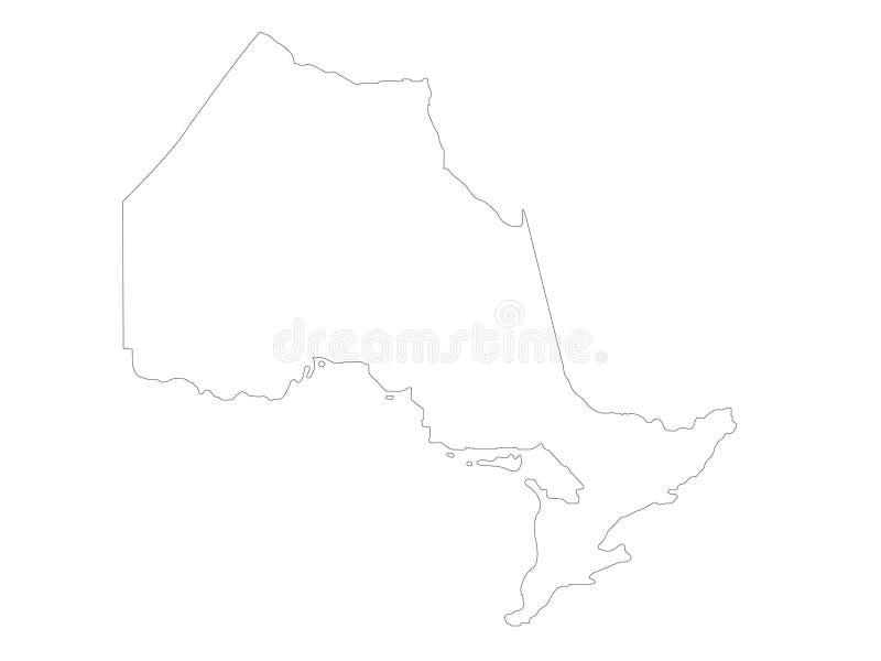 De kaart van Ontario - provincie in east-central Canada wordt gevestigd dat royalty-vrije illustratie