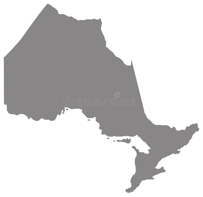 De kaart van Ontario - provincie in east-central Canada wordt gevestigd dat vector illustratie