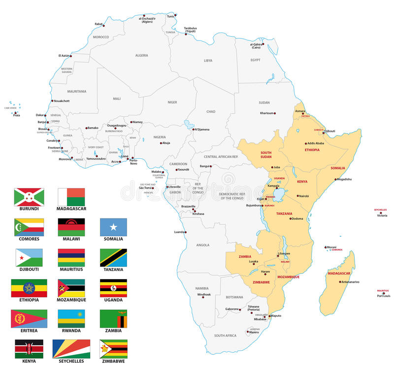 De kaart van Oost-Afrika met vlaggen vector illustratie