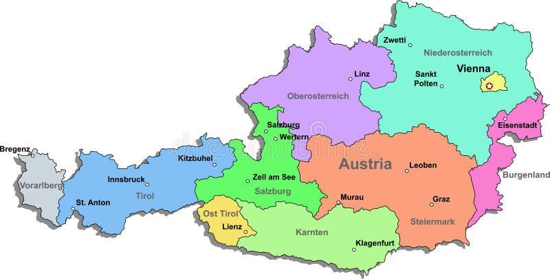 De kaart van Oostenrijk