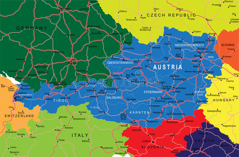 De kaart van Oostenrijk stock illustratie