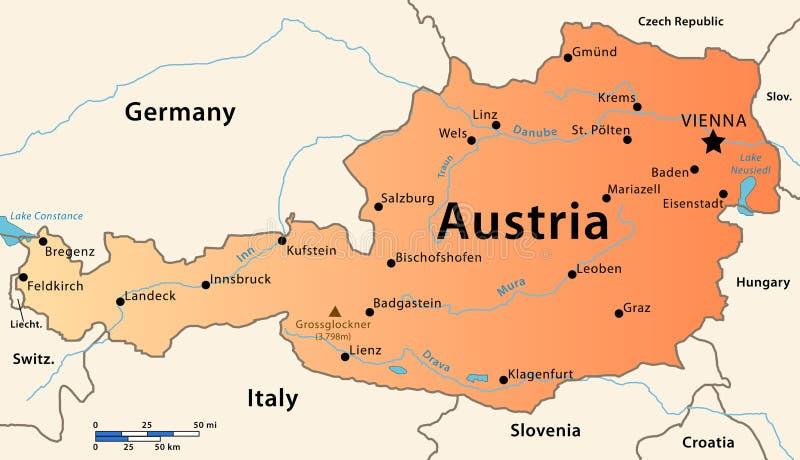 De kaart van Oostenrijk royalty-vrije stock afbeelding