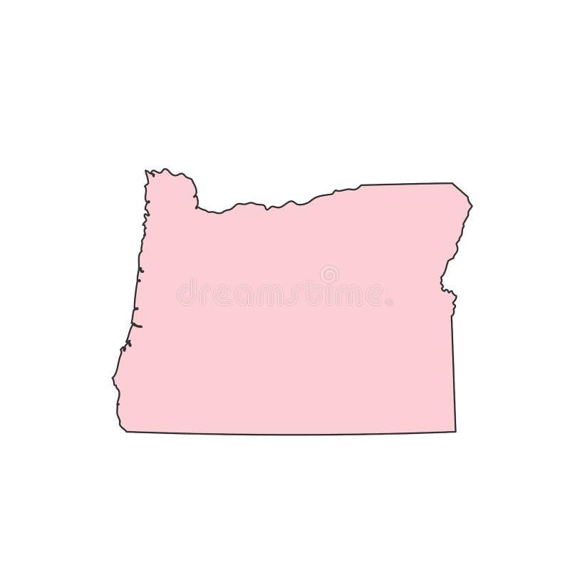 De kaart van Oregon op wit silhouet wordt geïsoleerd dat als achtergrond De staat van Oregon de V.S. vector illustratie