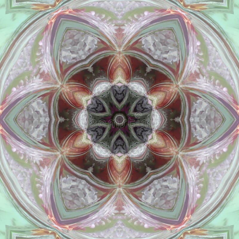 De kaart van de ornamentkleur met mandala Geometrisch cirkelelement in tedere wintertaling en roze royalty-vrije illustratie