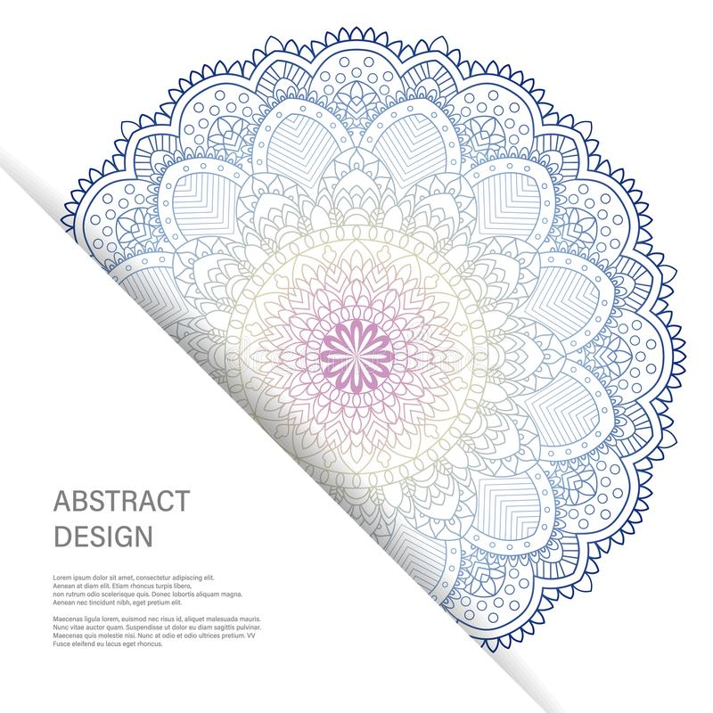 De kaart van de ornamentkleur met mandala Uitstekende decoratieve elementen Hand Getrokken Achtergrond Abstract ontwerp royalty-vrije illustratie