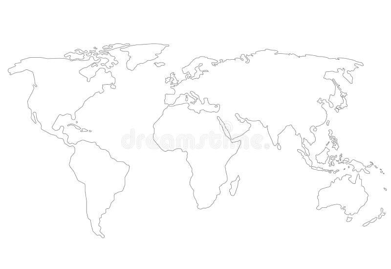 De kaart van de overzichtenwereld royalty-vrije illustratie