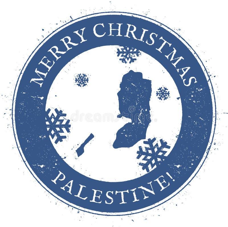 De kaart van Palestina Uitstekende Vrolijke Kerstmis Palestina vector illustratie