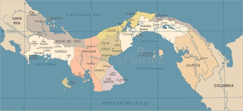 De Kaart van Panama - Wijnoogst Gedetailleerde Vectorillustratie vector illustratie