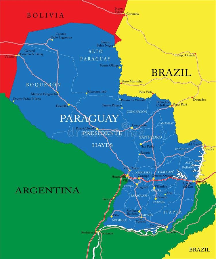 De kaart van Paraguay stock illustratie