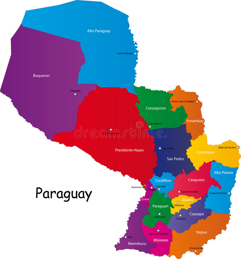 De kaart van Paraguay vector illustratie