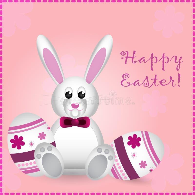 De kaart van Pasen met mooie konijn en teksten vector illustratie