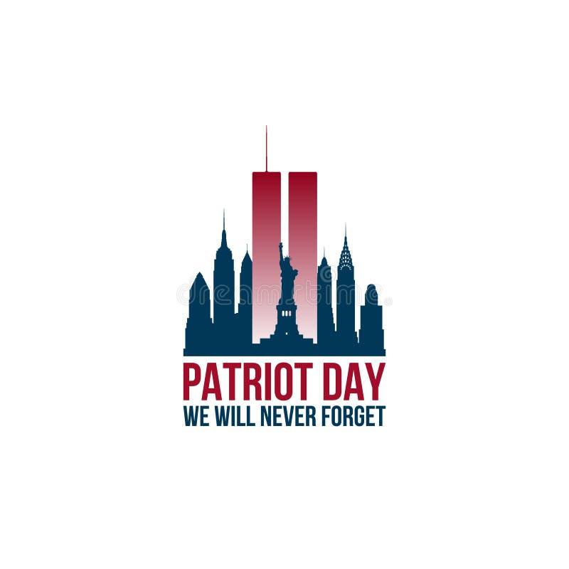 De kaart van de patriotdag met Tweelingtorens en uitdrukking die wij nooit zal vergeten stock illustratie