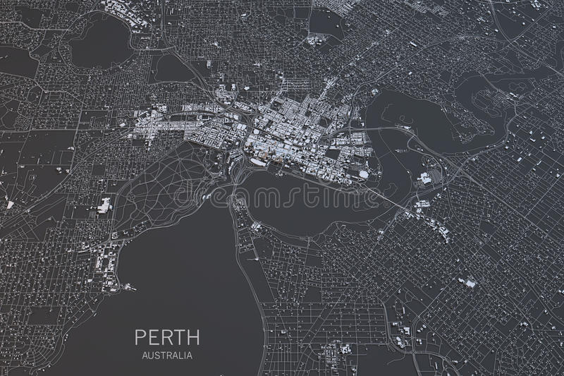 De kaart van Perth, satellietmening, stad, Australië stock illustratie