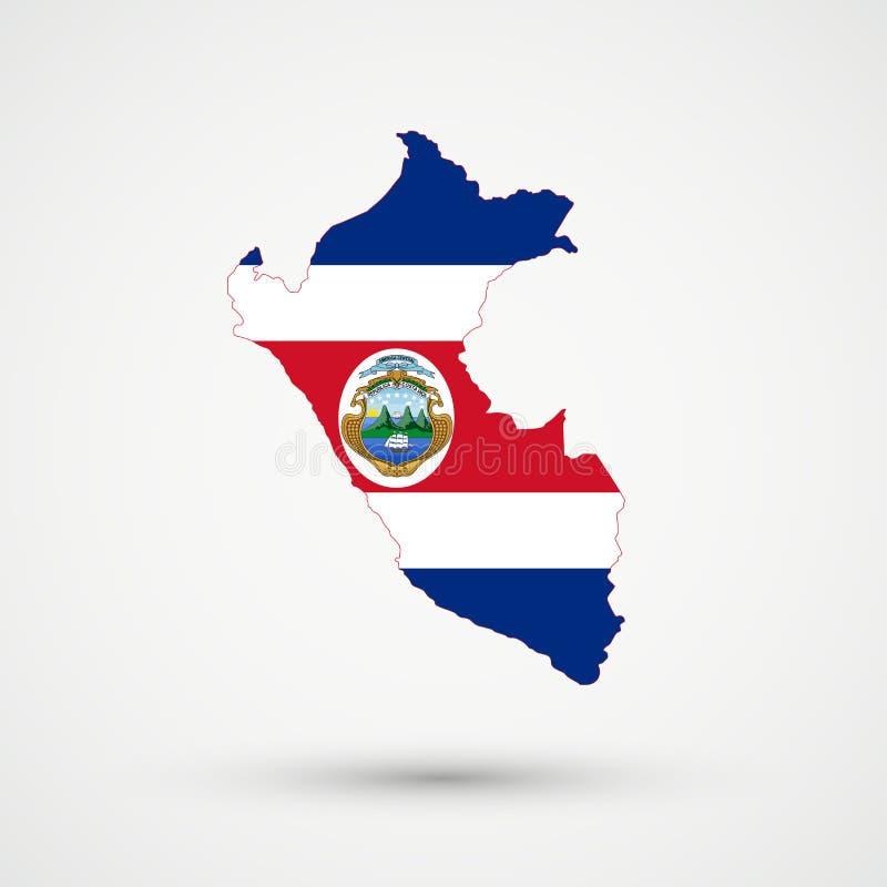 De kaart van Peru in Costa Rica-vlagkleuren, editable vector stock foto
