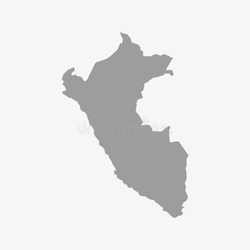 De kaart van Peru in grijs op een witte achtergrond royalty-vrije illustratie