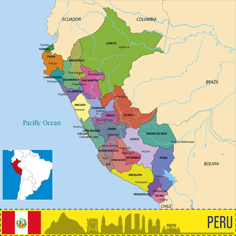 De kaart van Peru met gebieden en hun kapitalen stock illustratie