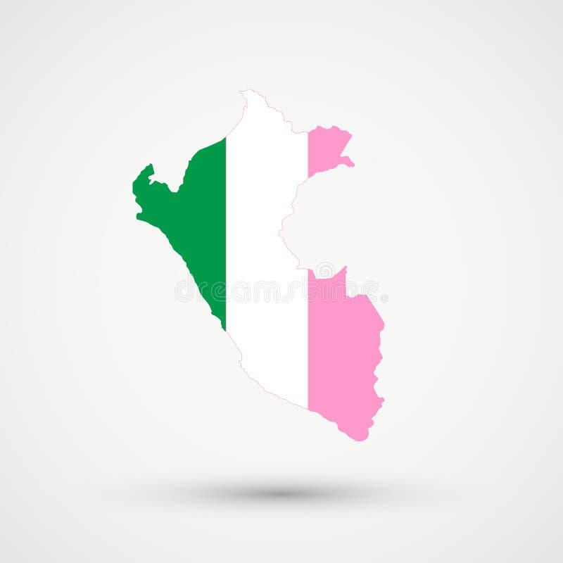 De kaart van Peru in Tricolour de vlagkleuren van Newfoundland, editable vector stock illustratie