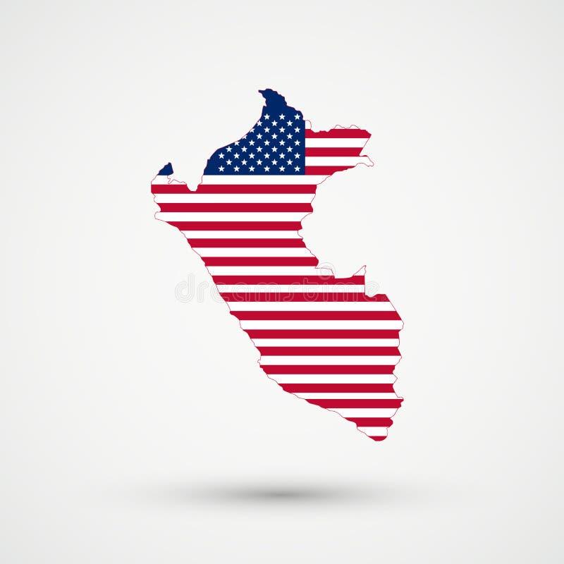 De kaart van Peru in Verenigde Staten markeert kleuren, editable vector vector illustratie