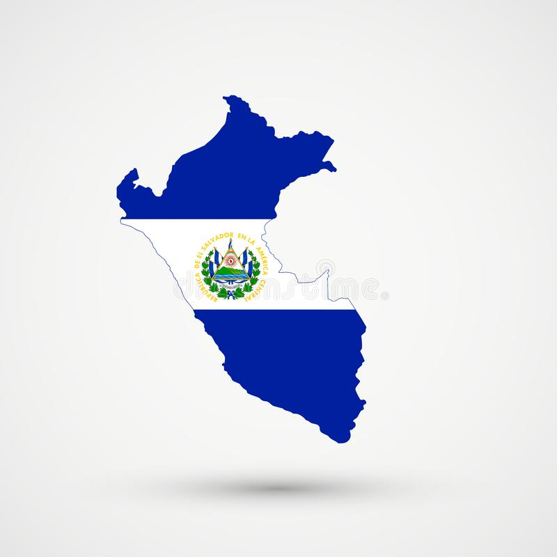 De kaart van Peru in de vlagkleuren van El Salvador, editable vector stock illustratie