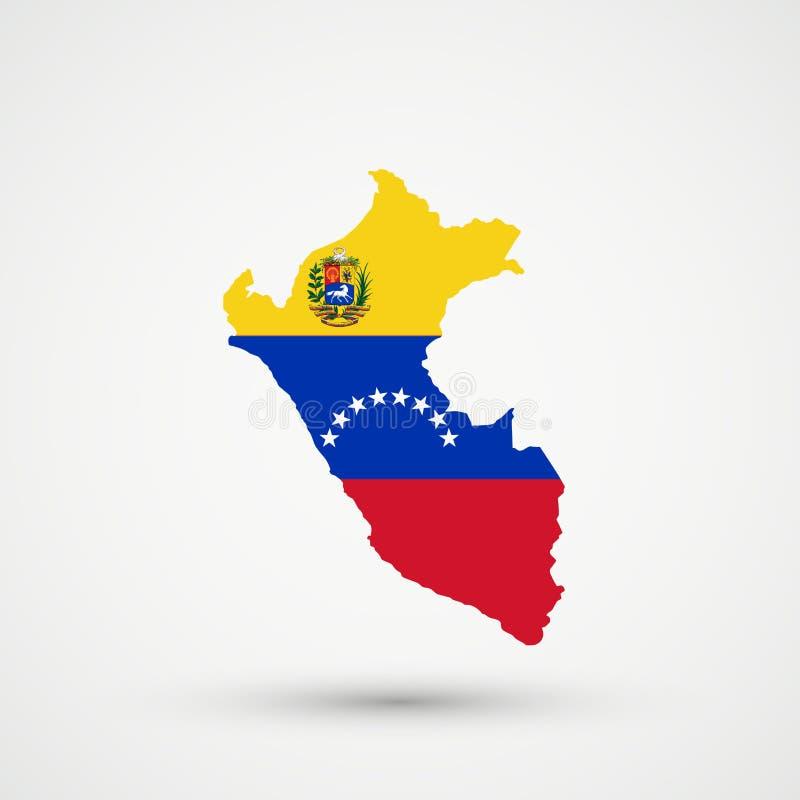 De kaart van Peru in de vlagkleuren van Venezuela, editable vector stock illustratie