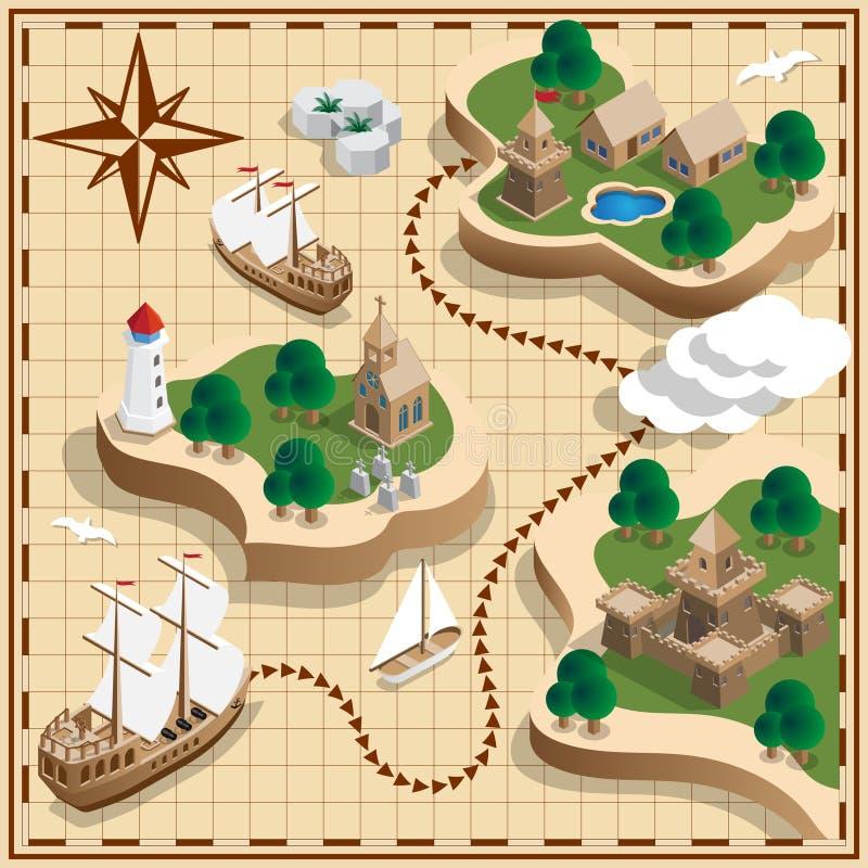 De kaart van de piraat vector illustratie