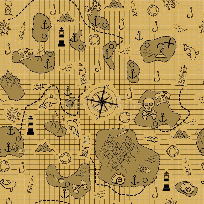 De kaart van de piraat Oude kaart met eilanden, schepen en verschillende mariene elementen royalty-vrije illustratie