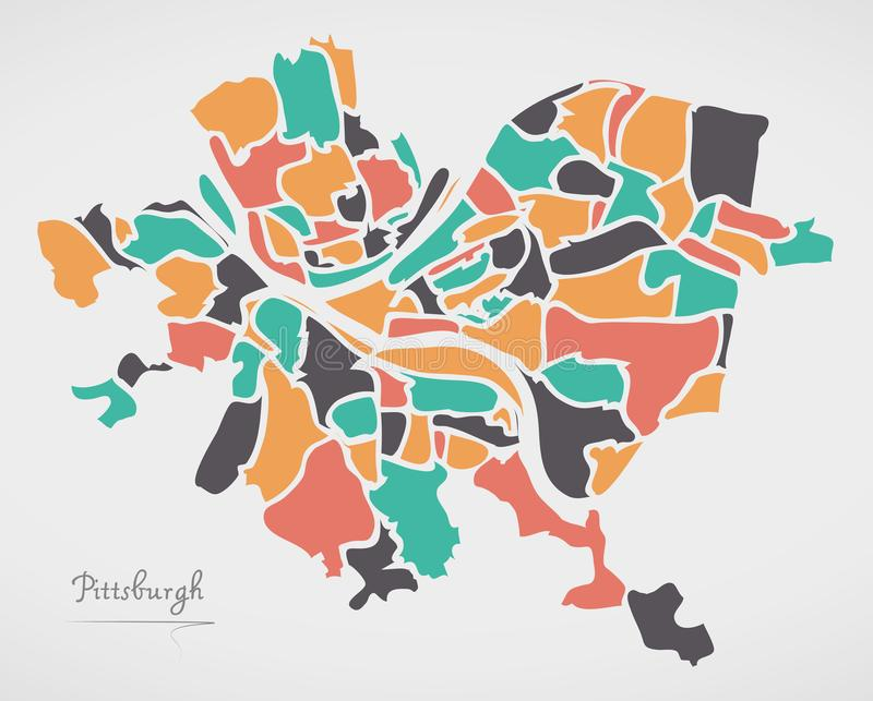 De Kaart van Pittsburgh Pennsylvania met buurten en moderne ronde vector illustratie
