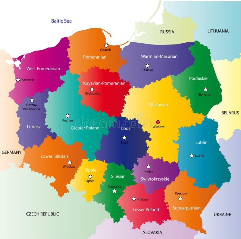 De kaart van Polen royalty-vrije illustratie