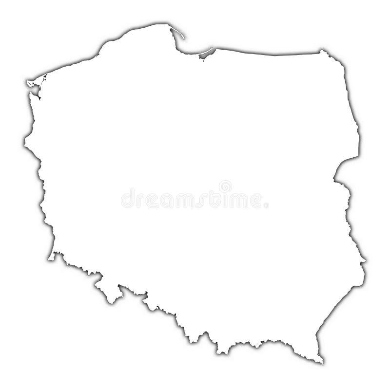 De kaart van Polen met schaduw royalty-vrije illustratie