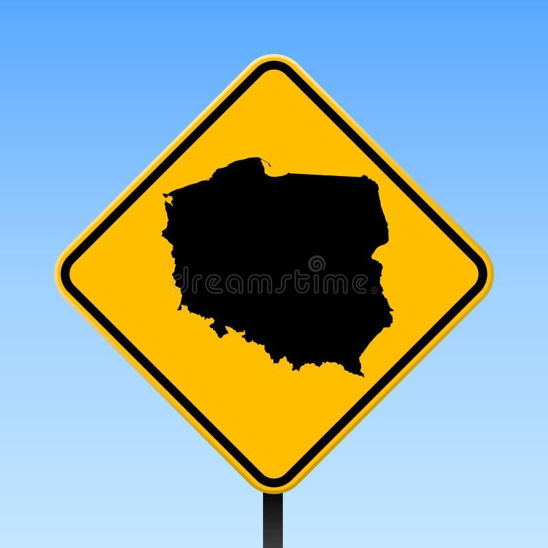 De kaart van Polen op verkeersteken royalty-vrije illustratie