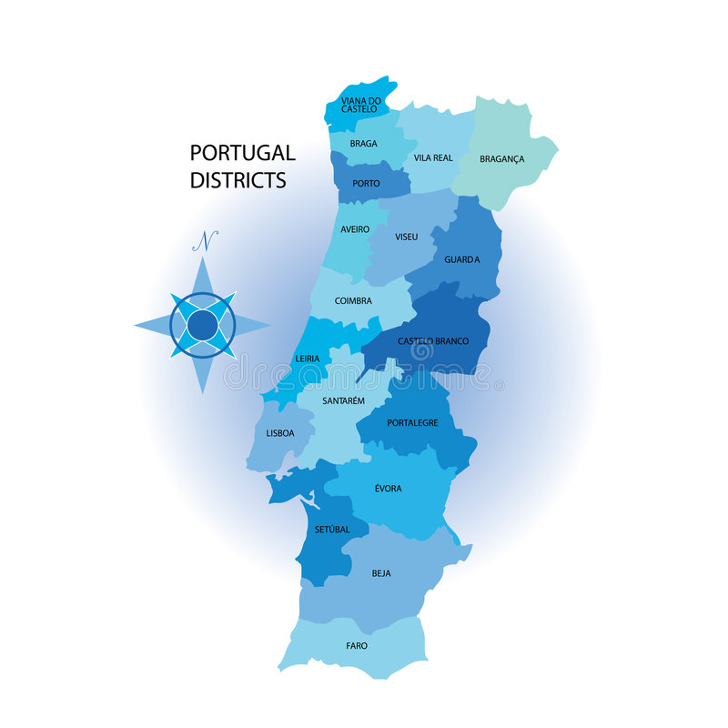 De Kaart van Portugal Districs royalty-vrije illustratie
