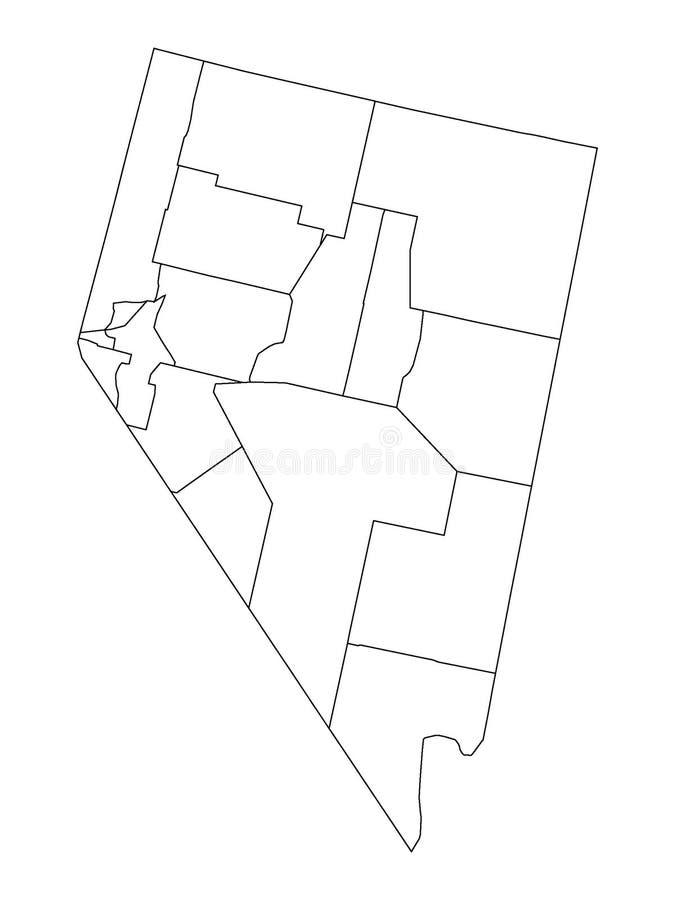 De Kaart van provincies van de Staat van de V.S. van Nevada stock illustratie
