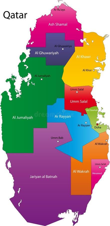 De kaart van Qatar stock illustratie