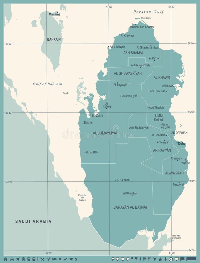 De Kaart van Qatar - Wijnoogst Gedetailleerde Vectorillustratie royalty-vrije illustratie