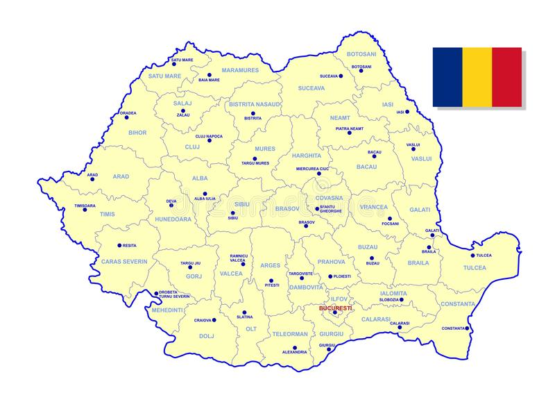 De kaart van Roemenië stock illustratie