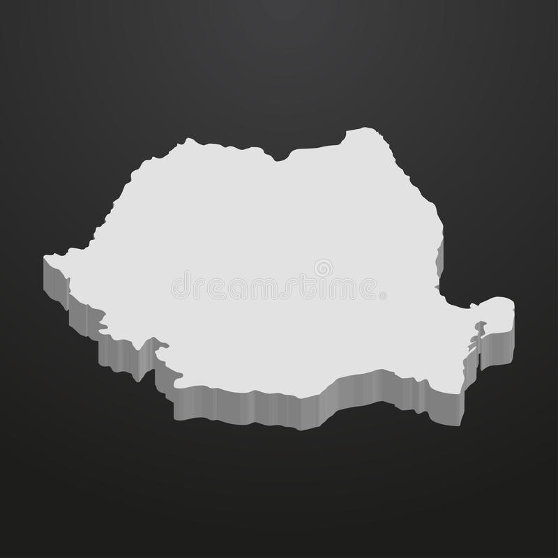 De kaart van Roemenië in grijs op een zwarte 3d achtergrond stock illustratie