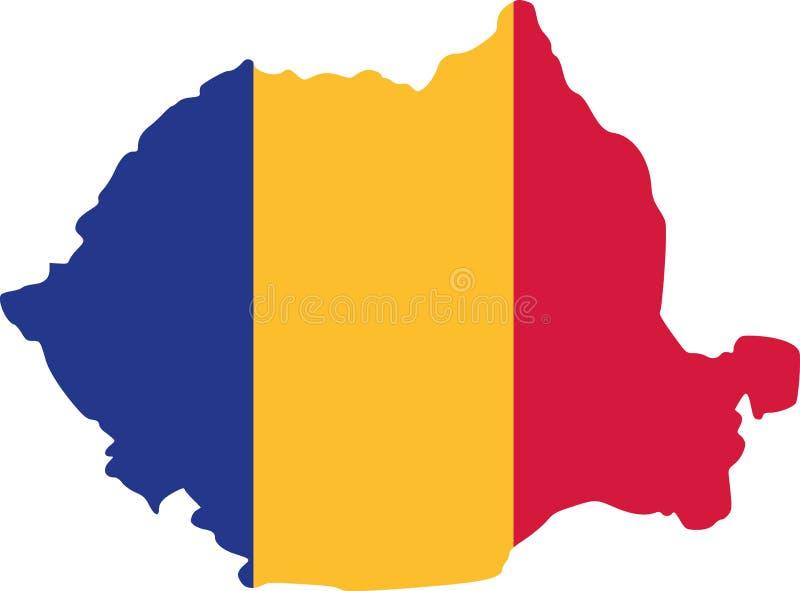 De kaart van Roemenië met vlag vector illustratie