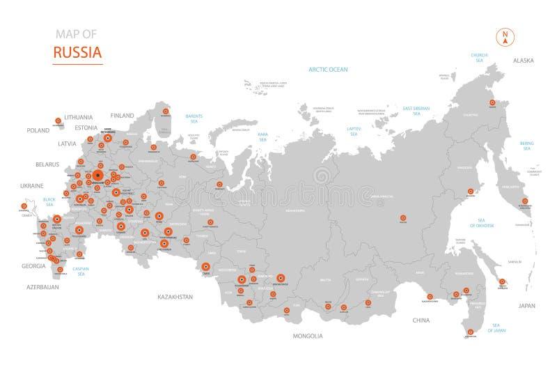 De kaart van Rusland met administratieve afdelingen vector illustratie