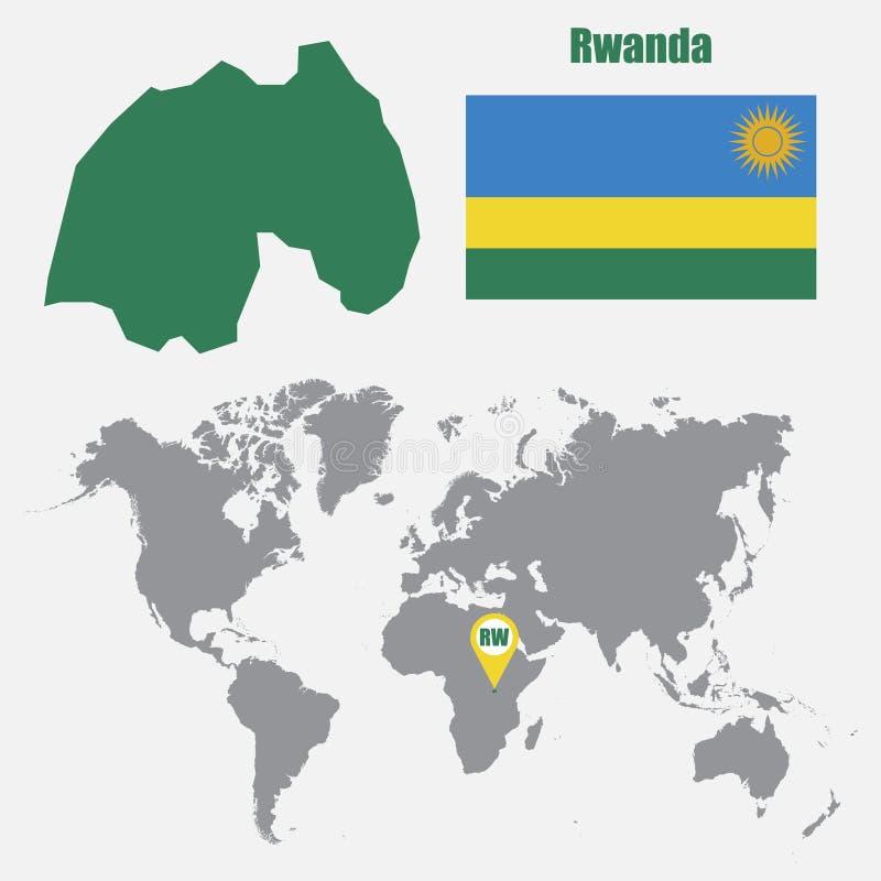 De kaart van Rwanda op een wereldkaart met vlag en kaartwijzer Vector illustratie royalty-vrije illustratie