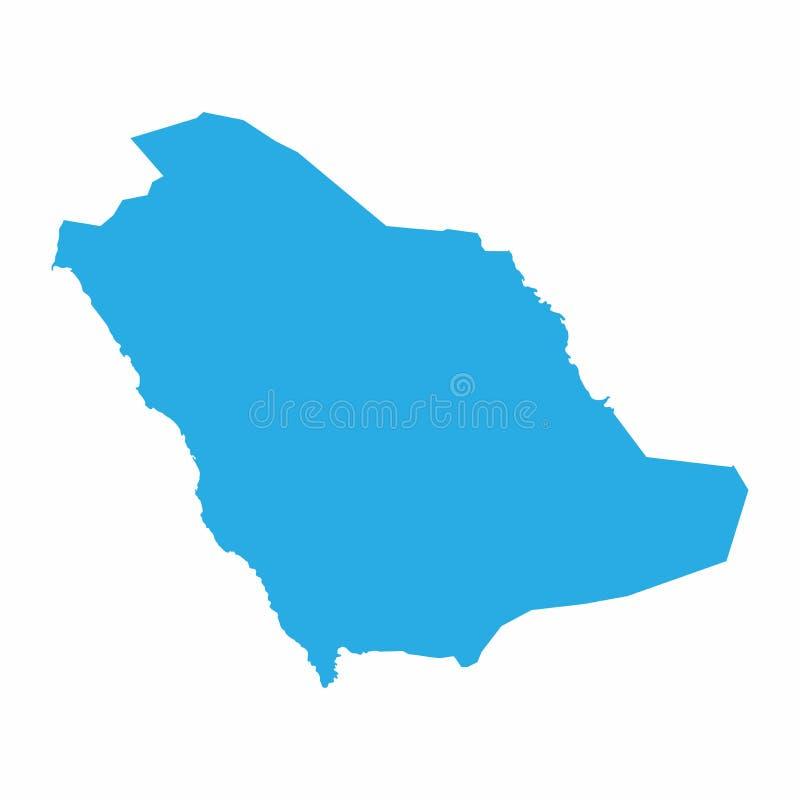 De kaart van Saudi-Arabië op blauwe achtergrond, Vectorillustratie vector illustratie